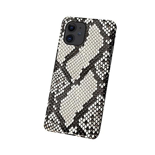 Diseñado para iPhone 11/12 Pro Negocio Pitón Piel Hombres Teléfono Funda Ultrafino Prueba Golpes Serpiente Cuero Mitad Incluido Cover Textura de Escala Prueba de Sudor Cubiert(Size:IP12MINI,Color:A)