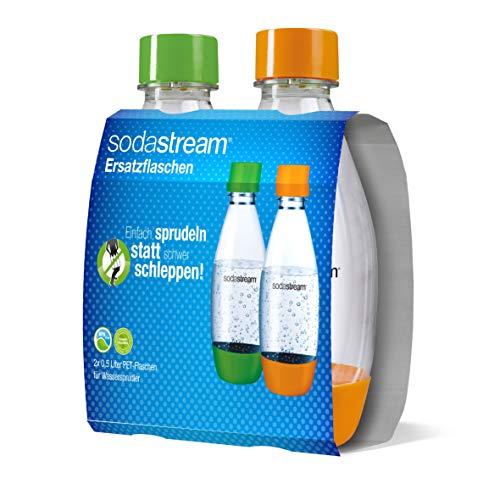 SodaStream PET-Flasche 0,5Liter Duopack aus bruchfestem kristallklarem PET und frei von BPA!  ideal für Schule, Sport, Freizeit