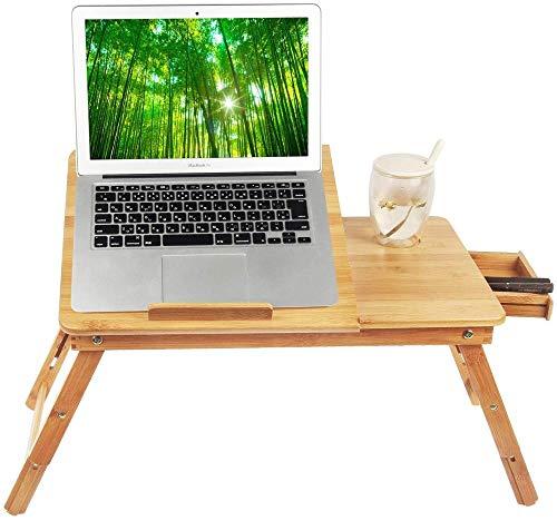 Laptop Schreibtisch Tablett Frühstück Servieren Bett Tablett Computer Notebook Halter & Amp Stand verstellbar & Amp Faltbar mit Flip Top und Schubladen 100% Bambus