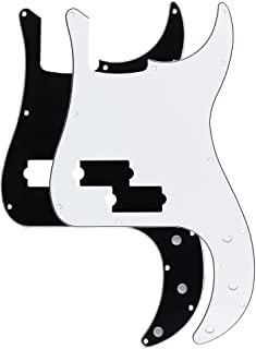 FLEOR 3Ply P Bass Pickguard Guitar Pickguard Scratch Plate for UAS/Mexican Made Standard Precision Bass Pickguard Replacement, 2pcs White and Black