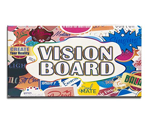 "3 in 1 Vision Board: Decorative, Foldable, Dry Erase Vision Board kit with 75+ Motivational Stickers. 27"" x 17"" Manifestation Board to fulfill The Law of Attraction (Lyric)"