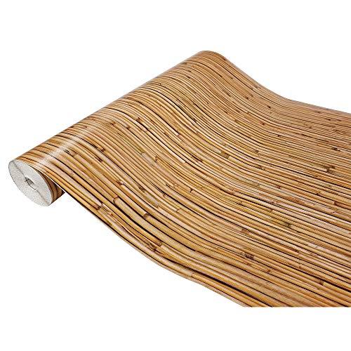 DecoMeister Klebefolie in Holzoptik Möbelfolie Selbstklebende Holzfolie Deko-Folie Holzdekor Selbstklebefolie 45x100 cm Bambus Braun