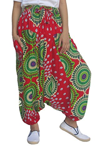 Wynnthaishop Harem Pants Unisex Tribal Chakra Harem Pants for Men & Women (OneSize (M-XL), Red1)