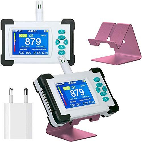 CO2-Messgerät Kohlendioxid-Detektor mit Akku Tragbarer CO2-Meter-Tester für Kohlendioxid-Luftqualitäts-Detektor mit Aufbewahrungskoffer (Mit Eu-Adapter Weiß)