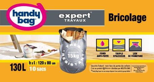Handy Bag 1 Rouleau de 10 Sacs Bricolage 130 L, Fermeture à Liens, Ultra Résistant, Anti-Fuites, 80 x 120 cm, Gris