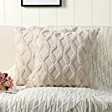 Madizz Pack of 2 Soft Plush Short Wool Velvet Decorative Throw Pillow Covers Luxury Style ...
