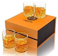 calliva von bicchieri whisky cristallo, bicchieri da whiskey cristallo senza piombo, 300 ml, set di 4 pezzi