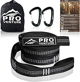 Pro Hammock Tree Straps with CARABINERS – 400LB Rated (1200LB Tested), Adjustable 30+2 Loops, Non-Stretch, Easy Setup, Heavy Duty, Tree Friendly…