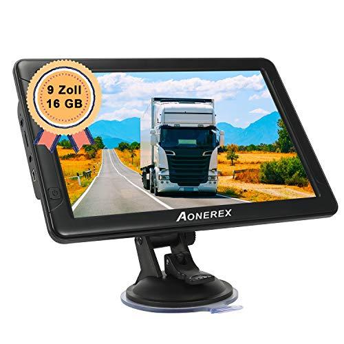 GPS Navigation für LKW, Aonerex 9 Zoll Touchscreen Navigationsgerät für Auto PKW KFZ 16GB Navi mit POI Blitzerwarnung Sprachführung Fahrspur Lebenslang Kostenloses Kartenupdate EU & Nordamerika