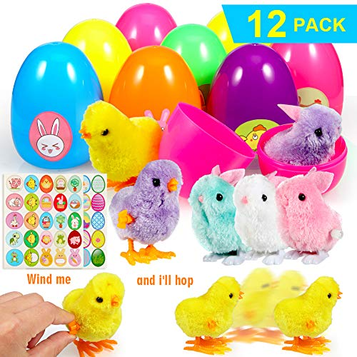 ThinkMax Uova di Pasqua Riempito con 12 Avvolgere Giocattolo Conigli e Pulcini per Caccia alle Uova di Pasqua, Basket Stuffers, Bomboniera Festa di Pasqua