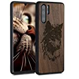 kwmobile Cover in Legno per Huawei P30 PRO - Custodia Rigida con Bumper in Silicone TPU Hard...
