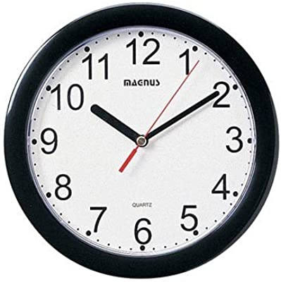 Dainolite 24003-BK Round Wall Clock with Plastic Face, 8-Inch, Black