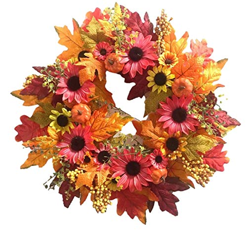 Artificial Fall Wreath, Fall Wreaths for Front Door - Hand-Made | Sunflower Pumpkin | Door Hanging Wreath for Harvest Festival Halloween Thanksgiving Day Christmas Decoration, 20 Inch