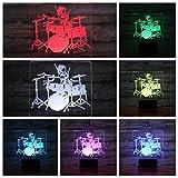 Jazz Drum kit set USB 3D LED Luz de noche Multicolor Niños Niños Bebé Niños Regalo Instrumento musical Lámpara de mesilla de noche