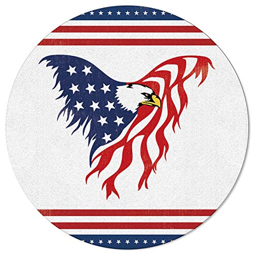 Round Area Rugs Flying Eagle Independence Day Non-Slip Home Decor American Flag Day Indoor Children Playroom Kitchen Bedroom Living Floor Mats 3.3ft(39in)