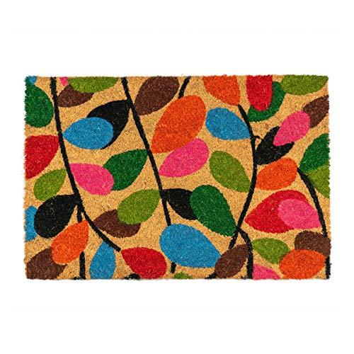 Nicola Spring Fußmatte aus Kokosfaser - rutschfeste PVC-Unterseite - Blätter-Motiv - 90 x 60 cm