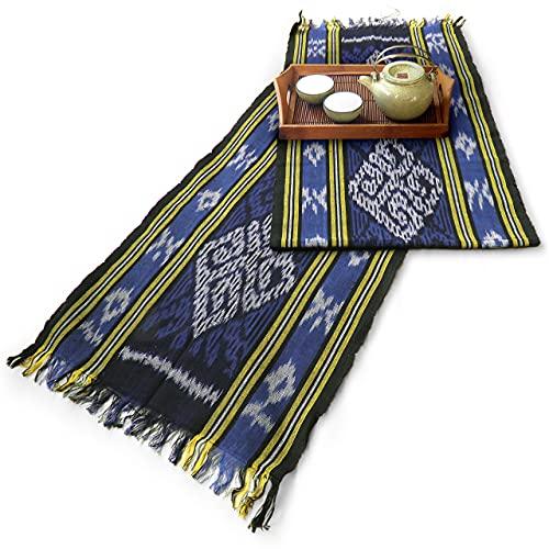 イカット(ロング) C 【インドネシアの飾り布、テーブルランナー タペストリー 壁掛け 箪笥の上掛け】 和風洋風を問わず便利に使えるインテリアクロス