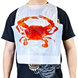 [50 Pack] Disposable 22 Inch Adult Poly Crab Bibs to Protect Clothes for Lobster Feasts, Seafood...