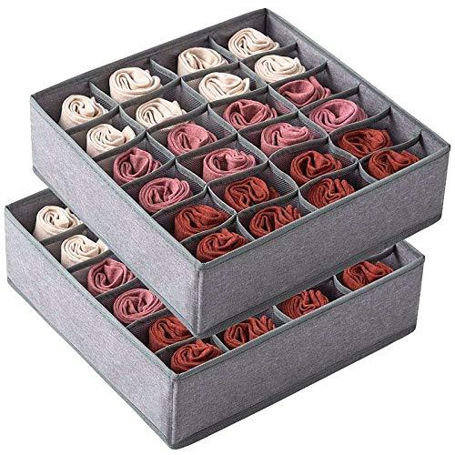 Baalaa Paquete de 2 calcetines organizador separador de cajones, 24 celdas, organizador de armario, ropa interior, cajas de almacenamiento para guardar calcetines, lencería, ropa interior
