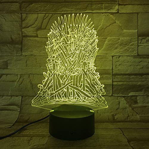 Juego de trono Souvenir Dragon Totem 3D Lámpara de noche acrílica con luz LED 7 colores Control remoto táctil