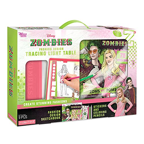 Make It Real - Disney Zombies Fashion Design Light Table - Fashion Design Tracing Light Box or Kids - Includes Tracing Light Table, 3 Colored Pencils, Tracing Pages, Sketchbook, & Stickers