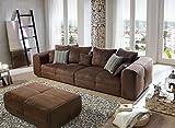 Cavadore Big Sofa Mavericco / Große Polster Couch mit Mikrofaser-Bezug in antiker Lederoptik / Inklusive Rückenkissen und Zierkissen in braun / Maße: 287 x 69 x 108 cm (BxHxT) / Farbe: Antik Braun - 2