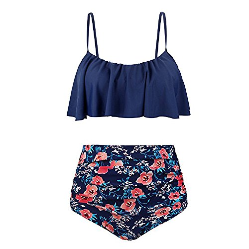 IFOUNDYOU Bikini-Set, Damen Retro Stil Polka-Punkt mit Hoher Taille Badeanzug Bikini Set