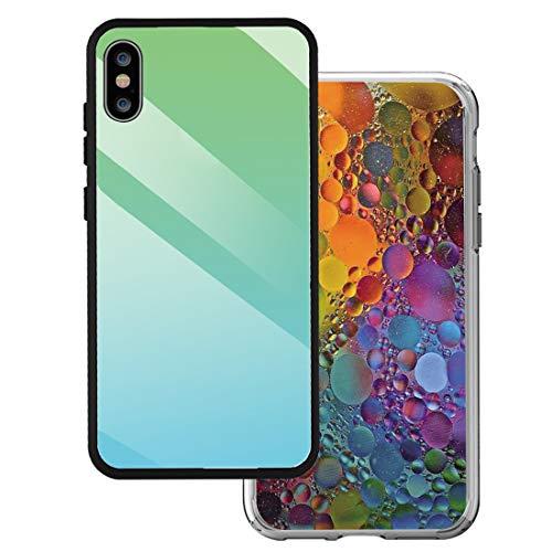 14chvier hoes compatibel met iPhone X kleur glas schilderij spiegel telefoonhoes zachte TPU silicone frame 9H gehard glas terug cover Clear Mirror iPhone X, 1X, F