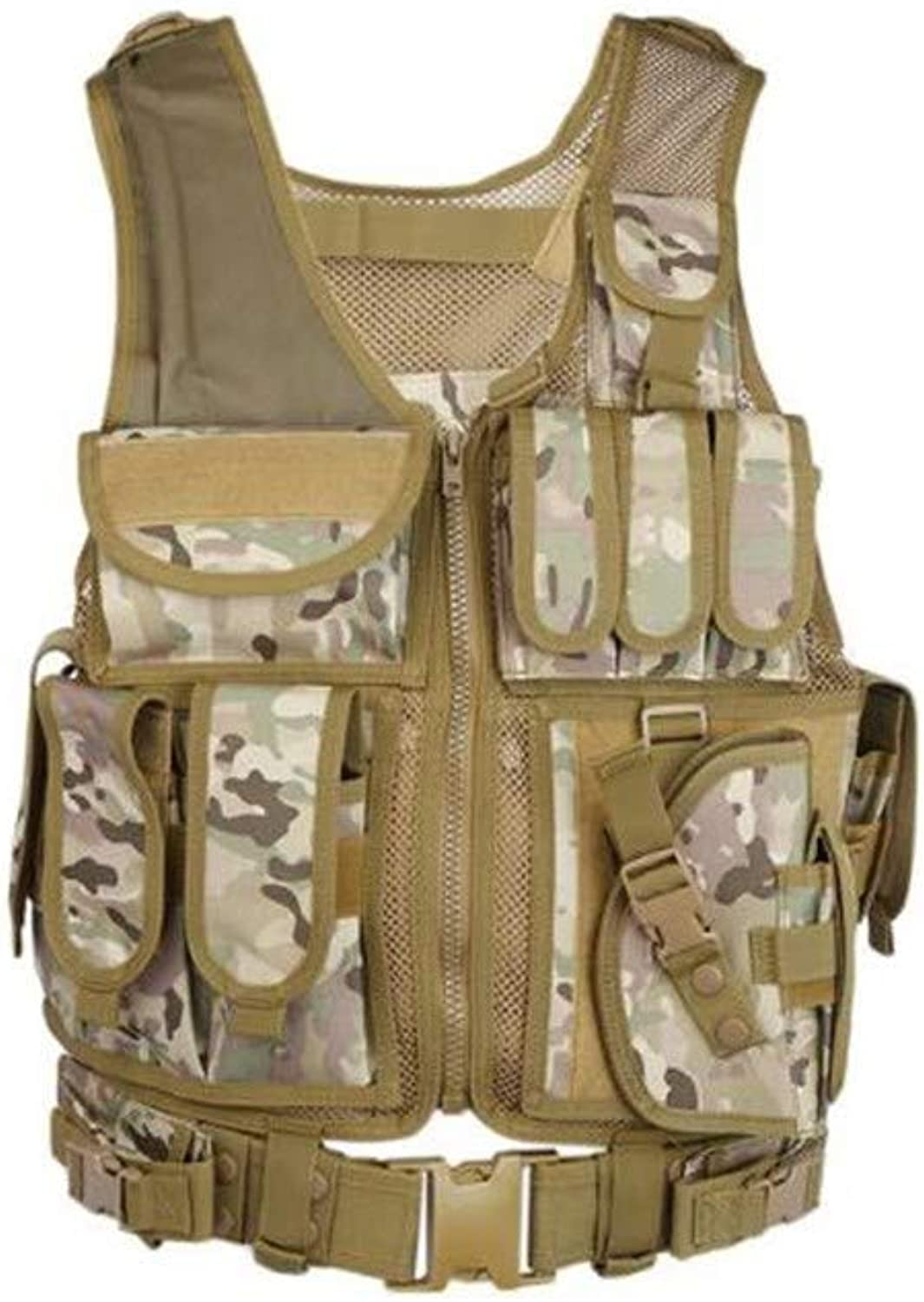 Leoie Tactical Swat Black Combat Vest Special Force Military Hunting Gear with Holster