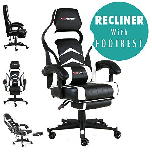 GTFORCE Turbo - Gaming-Stuhl für E-Sport und Rennspiele - PC-Stuhl für das Büro - Liegepositionen - Kunstleder - Weiß