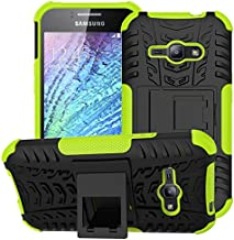 Galaxy J1 Ace Case,NOMO(TM) Shock Absorption Hybrid Dual Layer Armor Defender Protective Case Cover with Kickstand for Samsung Galaxy J1 Ace J110M 2015 - Green