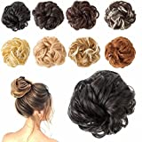 Messy Bun Hair Piece Off Black Thick Updo Scrunchies Hair Extensions Ponytail Hair Accessories for Women Ladies Girls