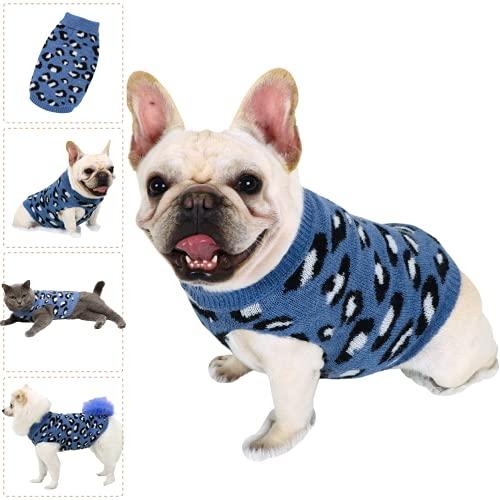 Hund Pullover für Katzen Klein Hunde Pullis Sweater Chihuahua Kleidung Bulldogge Hundepullover Keleine Mittel Grosse Katze Welpen Hundepulli Leopard Blau S