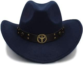 JAUROUXIYUJI New Fashion Winter Cowboy Hat Suede Look Wild West Fancy Dress Men Ladies Cowgirl Unisex Hat Roll-up Hat (Color : Dark Blue, Size : 56-58CM)