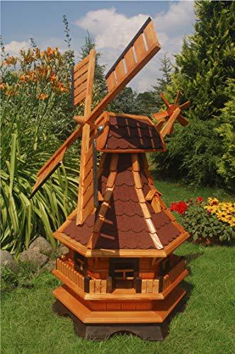 Deko-Shop-Hannusch Windmühle,Windmühlen mit Beleuchtung Solar, Solarbeleuchtung ++kugelgelagert++1,3m Bitum rot