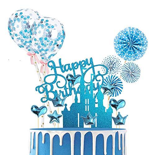 BOYATONG 24 Stück Glitter Cake Topper,Happy Birthday Tortendeko,Kuchen Tortendeko,Tortendeko Geburtstag Junge,Kuchendekoration Geburtstag,Cupcake Topper für Jungen Kinder Mädchen(Blau)