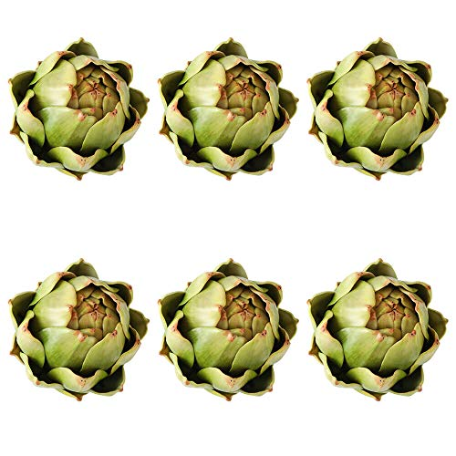 [6-Pack] Large Artificial Artichoke Fake Vegetables and Fruits for Kitchen Decorations (Green)