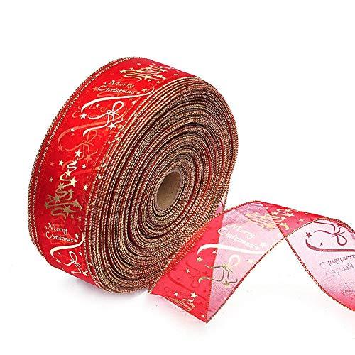 weimay DIY Árbol de Navidad/boda/Party Decor Wired Edge Blush Serging Ribbon para...