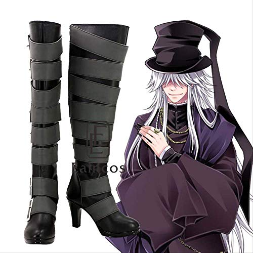 WSJDE Anime Black Butler Kuroshitsuji Undertaker Hochstiefel Cosplay Halloween Party Schuhe Custom Made 44