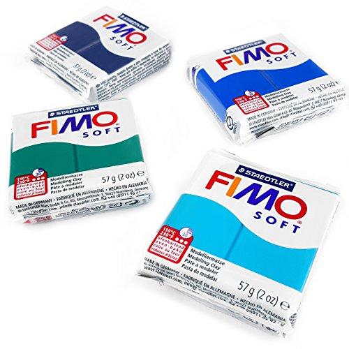 FIMO Arcilla de modelado de horno de polímero suave, 57 g, juego de 4 unidades, color océano