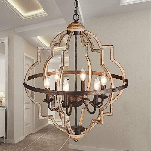 TZOE Orb 6-Light Chandelier,Rust...
