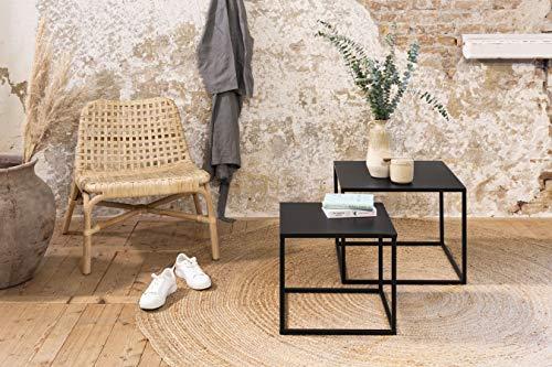 LIFA LIVING 4er Pack Schwarze Couchtische aus Metall, 2X 2 Niedrige stapelbare Beistelltische im modernen Design, Wohnzimmertische im Industrie Design