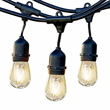 Brightech Ambience Pro Waterproof Outdoor String Lights with Hanging Sockets - 24 Ft Market Cafe Edison Vintage Bistro Commercial Grade Strand for Patio Garden Porch Backyard Party Deck Yard – Black