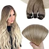 Easyouth Weave Bundle Deals Full Head Weave 16inch 80g Ash Brown Fading to Blonde Color Remy Human Hair Bundles Weft Hair Extensions