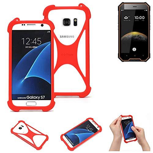 K-S-Trade® Handyhülle Für Blackview BV4000 Pro Schutzhülle Bumper Silikon Schutz Hülle Cover Case Silikoncase Silikonbumper TPU Softcase Smartphone, Rot (1x)