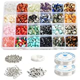 BUYGOO 1323Pcs Irregular Chips Stone Beads Natural Gemstone Beads Kit with Spacer Seed Beads Lobster Clasps Elastic String Jump Rings for DIY Necklace Bracelet Earring Jewelry Making Supplies