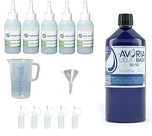 Waipawama Avoria Set 1000 ml deutsche E Liquid Base VPG + Profi Zubehör Mischset, 0 mg (50/50 Base + Mischset)