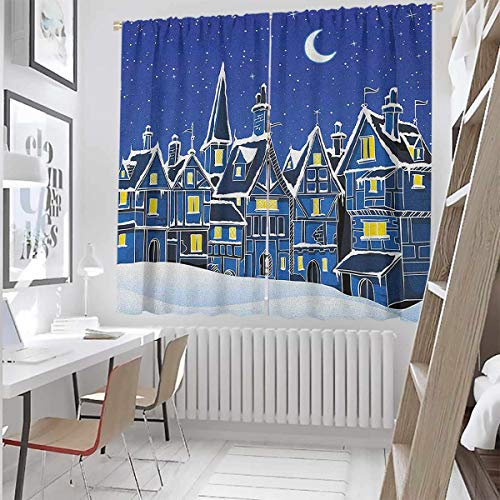 Xmas Wear-Resistant Color Curtain Town in Snow Old Houses Winter Season Moon and Stars Night Christmas Inspired Waterproof Fabric W52 x L63 Inch Blue Yellow White