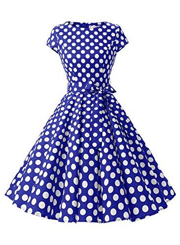 Dressystar Damen Vintage 50er Cap Sleeves Dot Einfarbig Rockabilly Swing Kleider Royalblau Weiß Dot B S