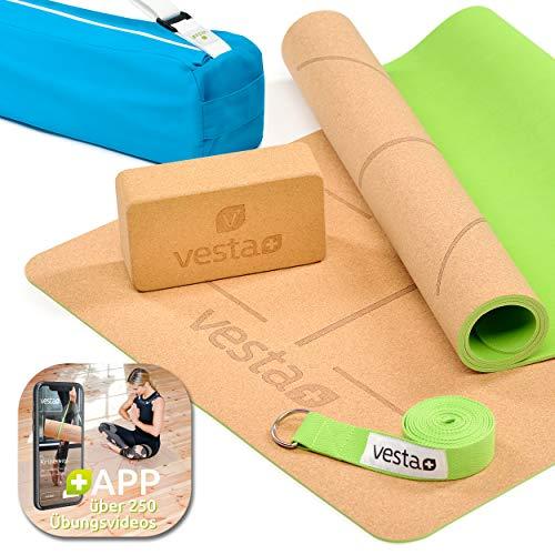 Vesta+ Yogamatte inkl. APP über 260 Übungen | Yogamatte, Yogablock, Yogagurt, Tragetasche, 100% Nachhaltig & Öko, Schadstofffrei, Kork, rutschfest | Perfekte Sportgeräte für ideales Training